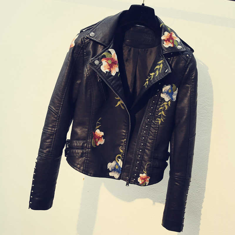 2018 3D Flower Embroidery Women Leather Jacket Leather Coat Spring Style Slim Fit Sweet Short PU Jacket Coats For Women C1704
