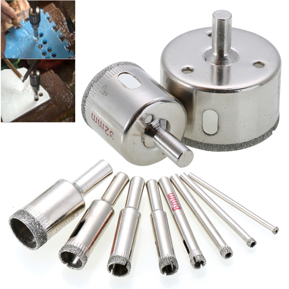10pcs Diamond Hole Saw Marble Drill Bit Set 3-50mm For Glass Ceramic Tile Drilling Tools 10pcs diamond holesaw set 8 50mm drill bit hole saw cutter for tile glass marble ceramic
