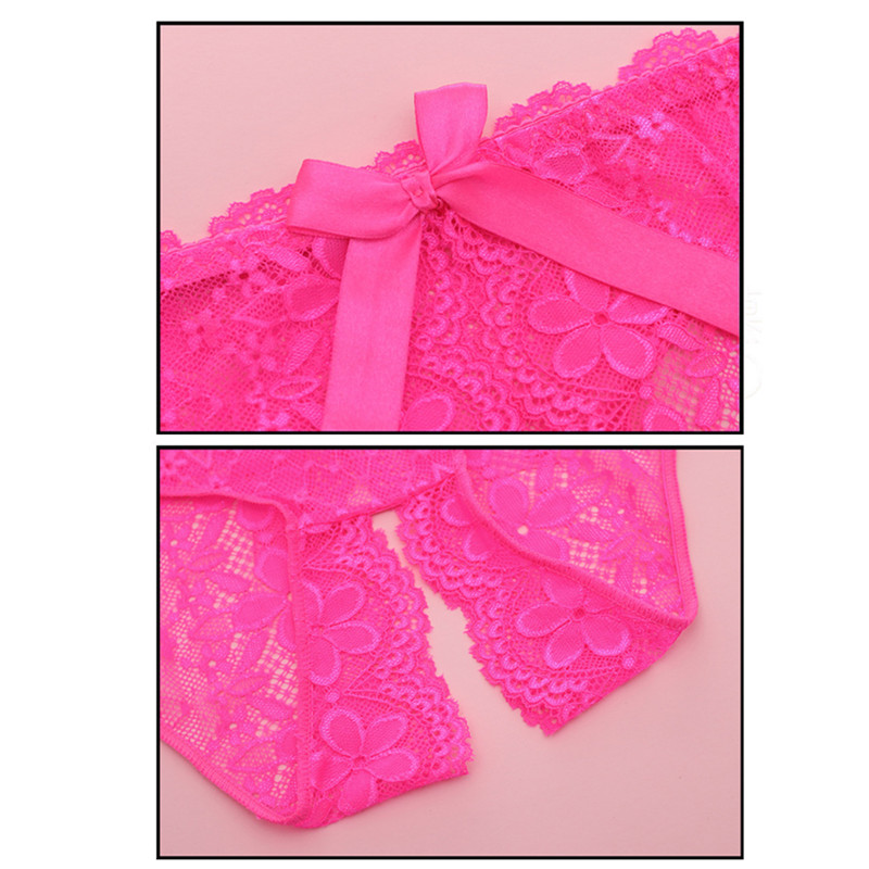 New Sexy Lingerie Underwear Women Bow Lace Briefs Low Waist Open Crotch Solid Sex Panties Erotic Adult Party Game Role Play