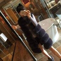 Latest fashion long fur vest blue faux fox fur vest from China