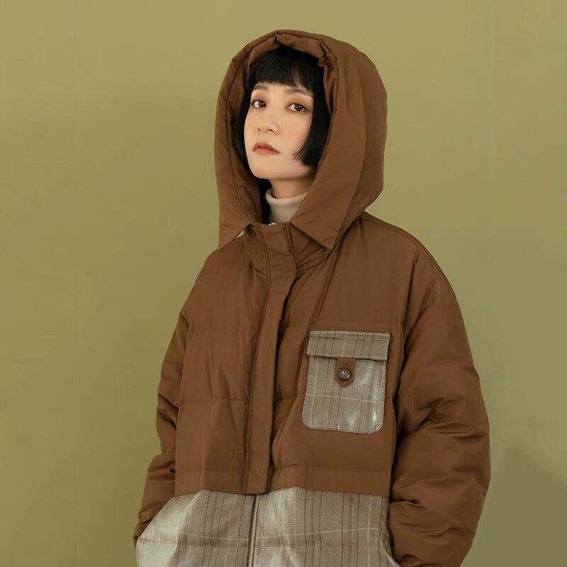 Womens 90% White Duck   Down   Jacket Winter   Down     Coat   Female Hooded Outwear 2019 New Arrival Retro Loose Splice   Down   Jacket Women
