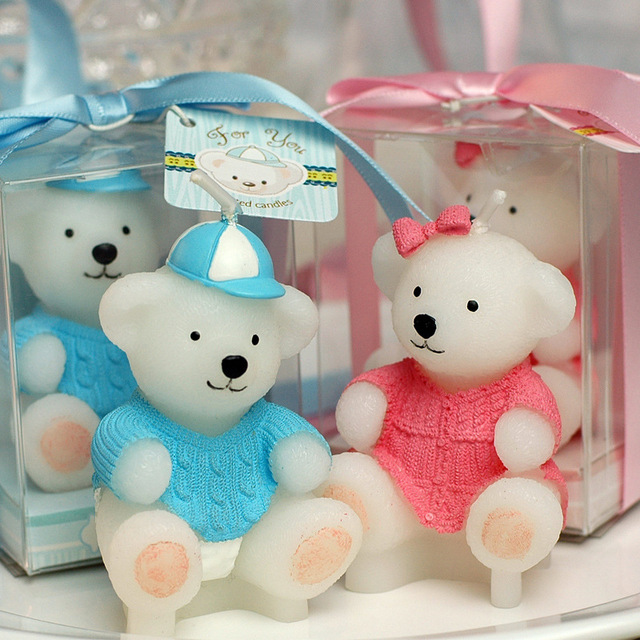 Teddy Bear Smookless Candle Baby Shower Baptism Party