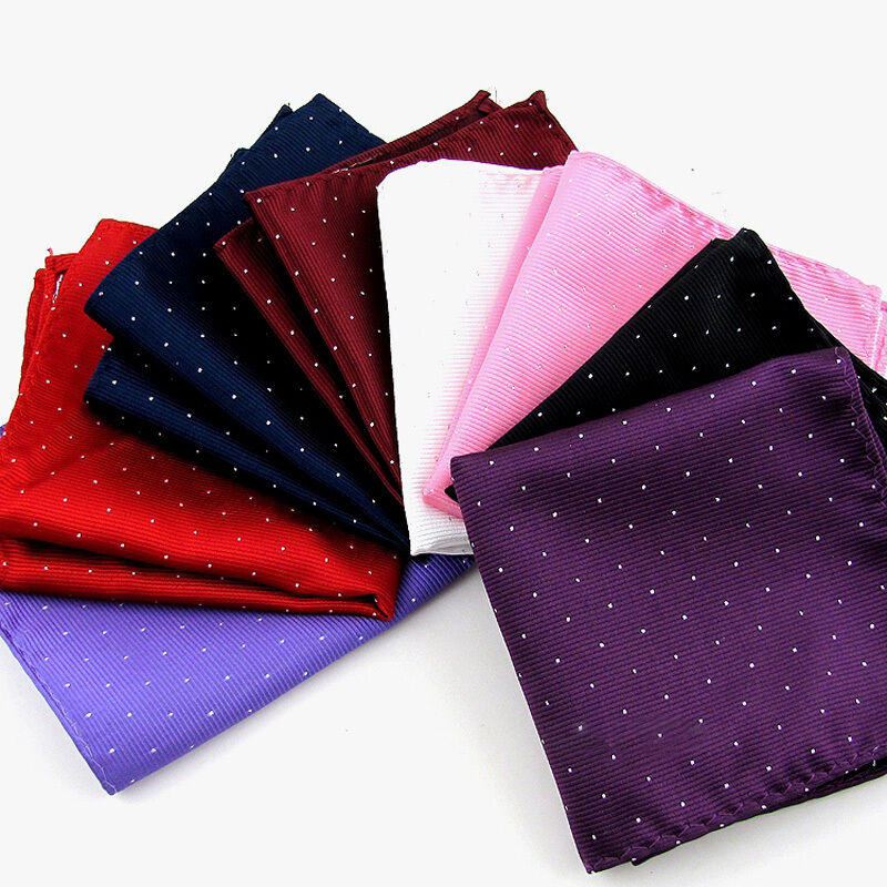 Men Silver Polka Dot Shiny Hanky Pocket Square Wedding Party Tuxedo Handkerchief YYTIE0035