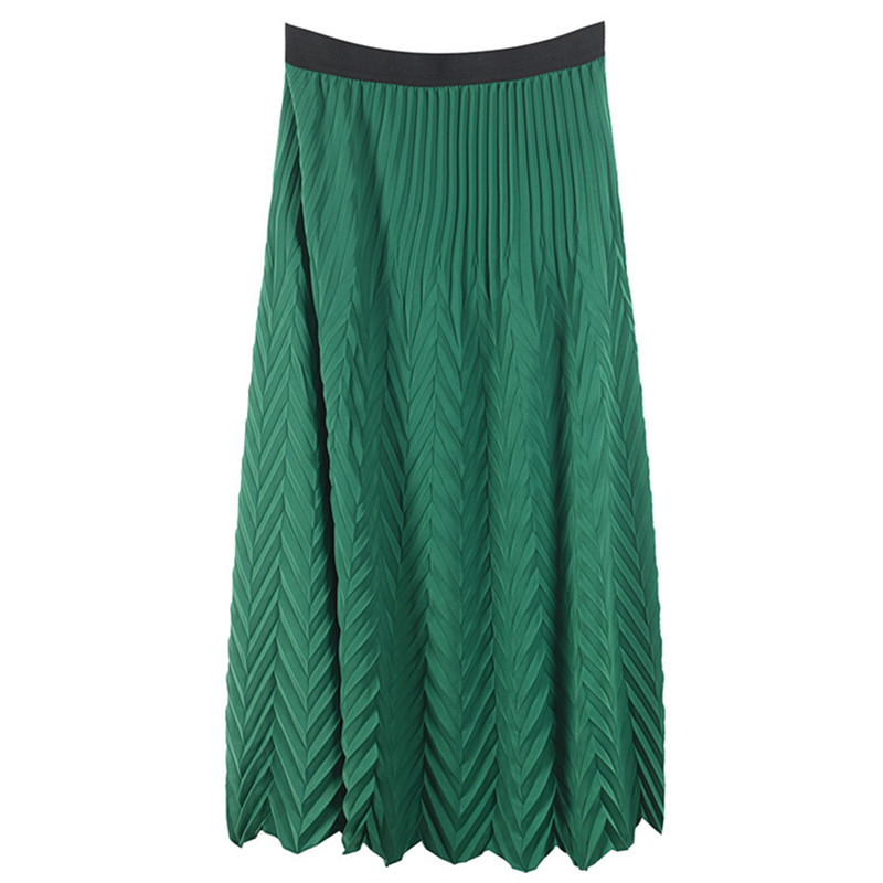 Women Skirt Beach Woven Summer Holiday Bottom High Waist Green Long Skirt Elastic Skirt Runway Design Jupe Femme Skirt Casual