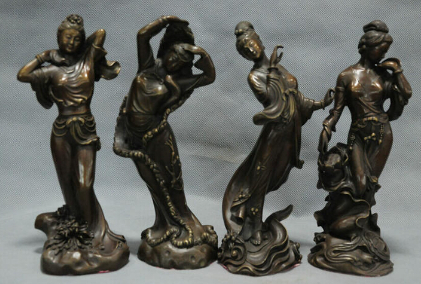 10 China Ancient Dynasty 4 Great Beauty Belle Fairy Woman Lady Bronze Statue R0712 B040310 China Ancient Dynasty 4 Great Beauty Belle Fairy Woman Lady Bronze Statue R0712 B0403