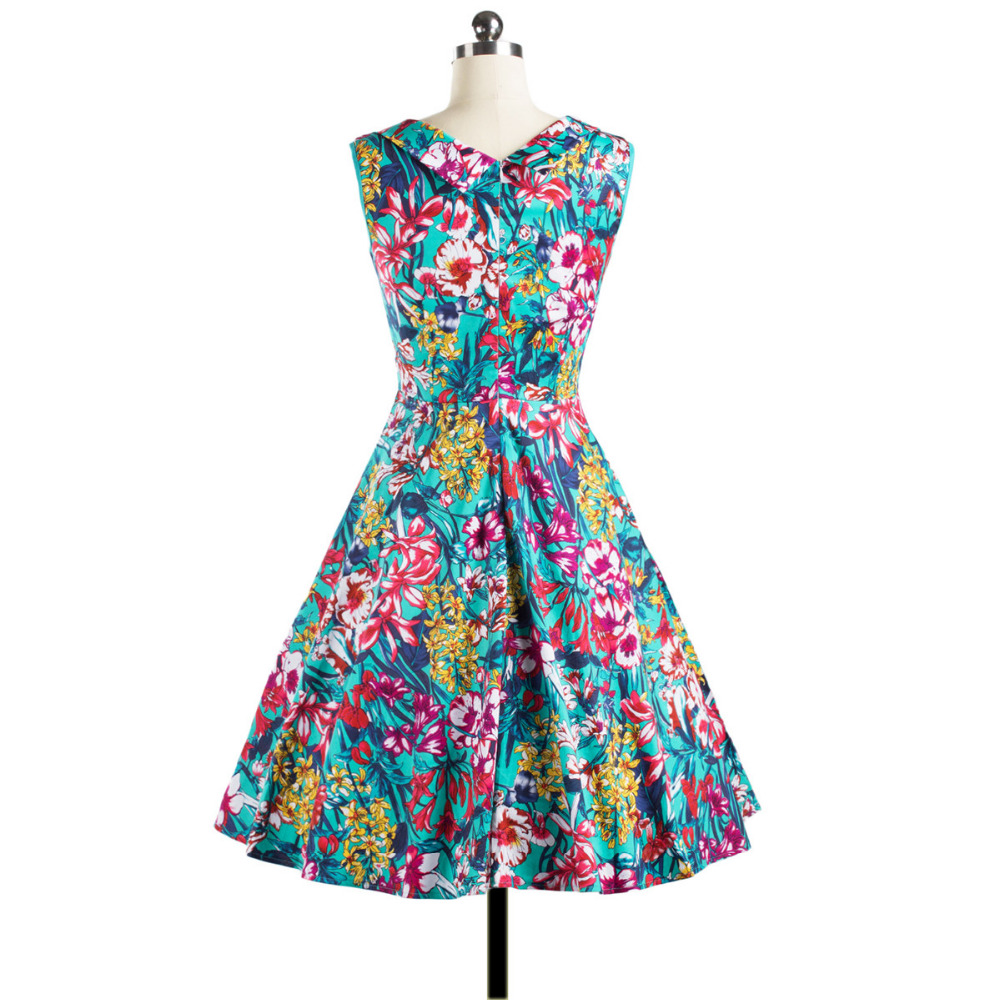 Women Vintage Style Floral Printed 50\'S 60\'S Swing Pinup Retro Party ...