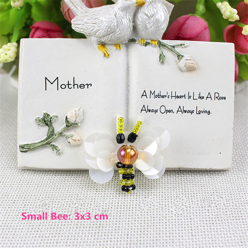 10pcs Sequin Beaded Bee Patch Collor Applique Iron on Patches for - ხელოვნება, რეწვა და კერვა - ფოტო 6