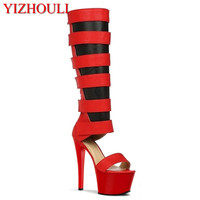 17cm Women Fashion Peep Toe Shining Gold Rhinestone Strappy High Heel Sandals Ankle Wrap Gladiator Sandals Wedding Dress Shoes