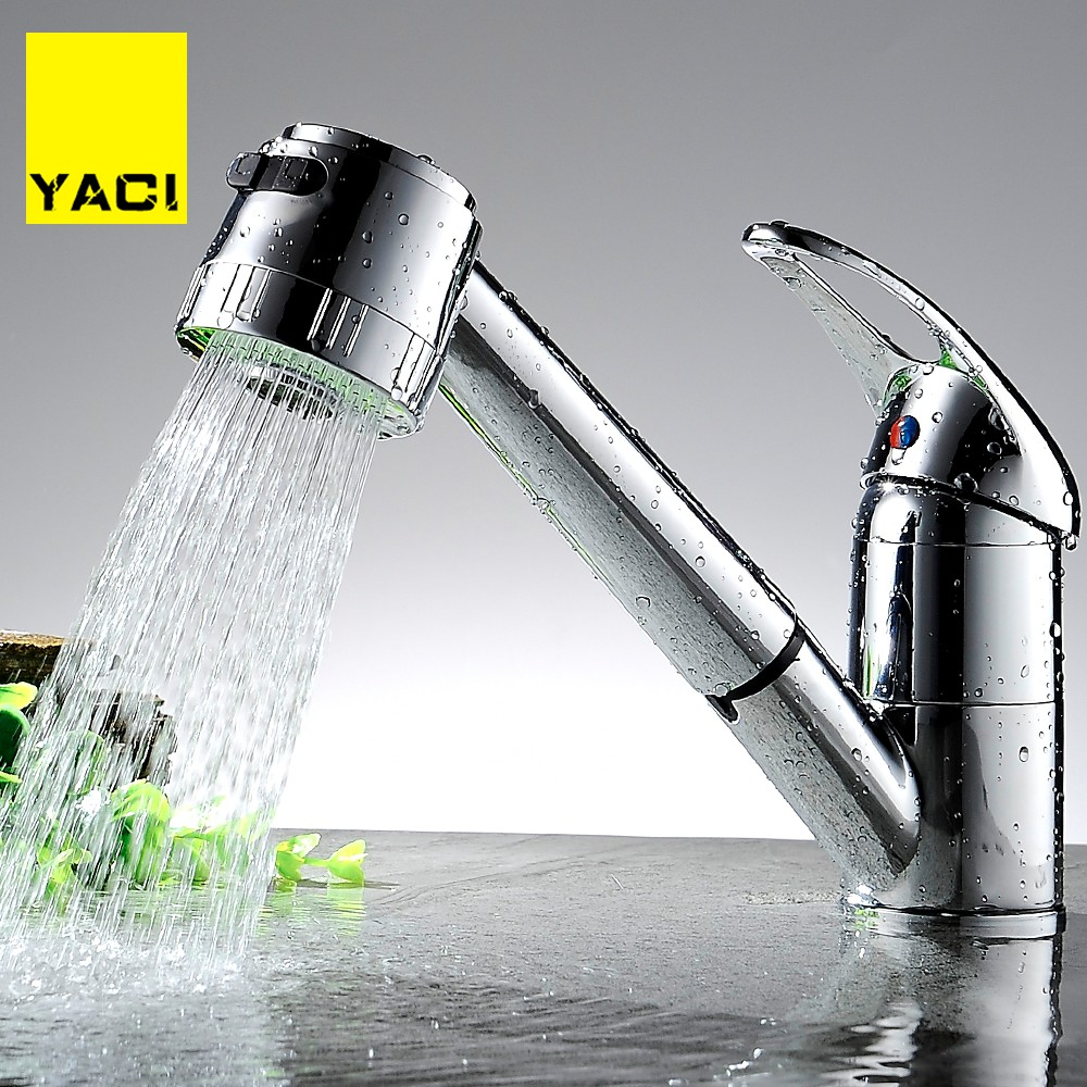 YACI 1  Kitchen Faucet Pull Out With Spray Kitchen Tap Torneira Cozinha Sink Single Handle Deck Mounted 360 Rotation Tap