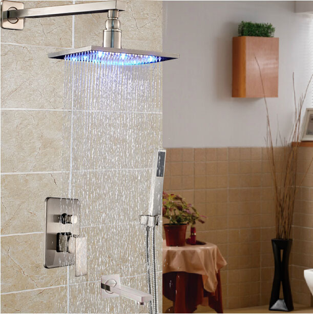 LED 3 Color 16 Square Rain Shower Head Brushed Nickel Shower Mixer Faucet Wall Mount with Handshower + Tub Spout