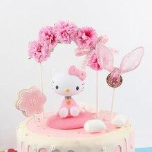 Décoration de gâteau en arc de fleurs avec nœud papillon, magnifique décoration de gâteau danniversaire, réception prénatale, fournitures de cadeaux pour mariage, pour enfants