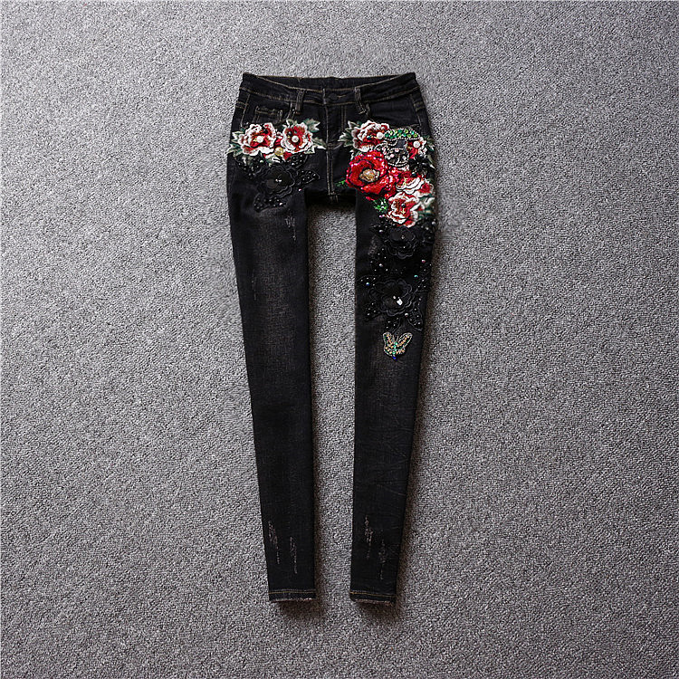 2017 spring brand women's fashion luxury three-dimensional flowers jeans Slim thin sequins feet pants pencil pants women a three dimensional embroidery of flowers trees and fruits chinese embroidery handmade art design book