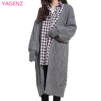 Fashion Women sweater Spring clothes long sections new High quality Thick loose Cardigan Sweater Cheap clothes china YAGENZ A18