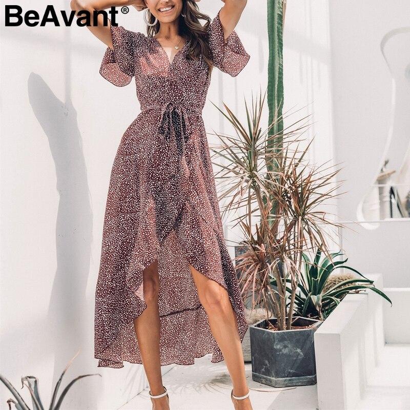 4b03cd04c09 BeAvant Sexy com decote em v leopard impresso longo vestido Elegante  plissado de manga curta vestido maxi Divisão dot vestido feminino verão  2019 vestido