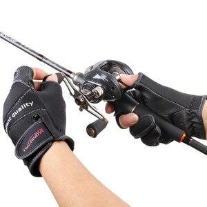Image 3 - を Tsurinoya 冬釣り手袋ネオプレン 3 指カット手袋狩猟キャンプアンチスリップ Gel 屋外スポーツは暖かい手袋