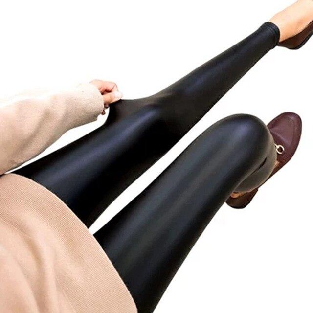2019 Fashion Women PU Leather Pants High Elastic Waist Leggings Not Crack Slim Leather Leggings Skinny Fleece Trousers Leggings