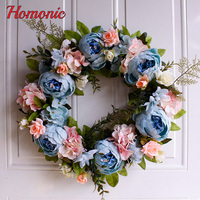 Blue Painting artificial Peony wreath door lintel flower mirror flowers bouquet with fake leaf for wedding home door decoration