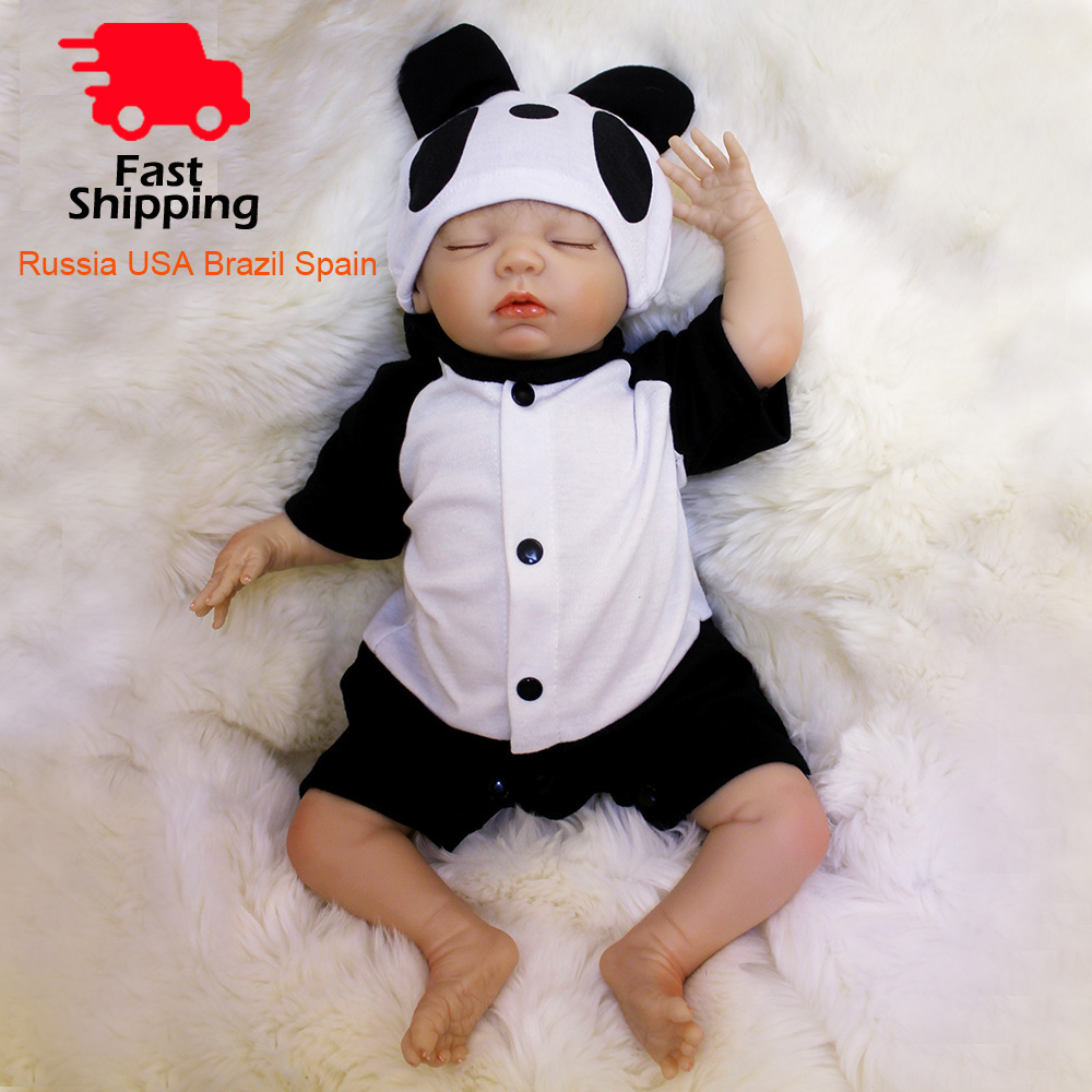 OtardDolls Bebe Reborn Dolls 18 inch Reborn Baby Doll Soft Vinyl Silicon Newborn Doll bonecas Panda Clothes For Children Gifts-in Dolls from Toys & Hobbies