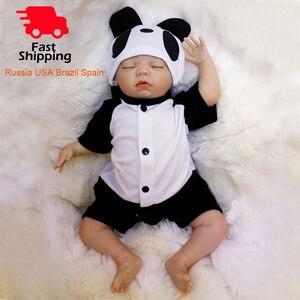 Image 1 - OtardDolls Bebe Reborn Puppen 18 zoll Reborn Baby Puppe Weichen Vinyl Silicon Newborn Puppe bonecas Panda Kleidung Für Kinder Geschenke