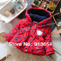 Free shipping Retail new 2014 autumn winter coat baby clothing wadded jacket kids outerwear baby girl cute polka dot warm parka