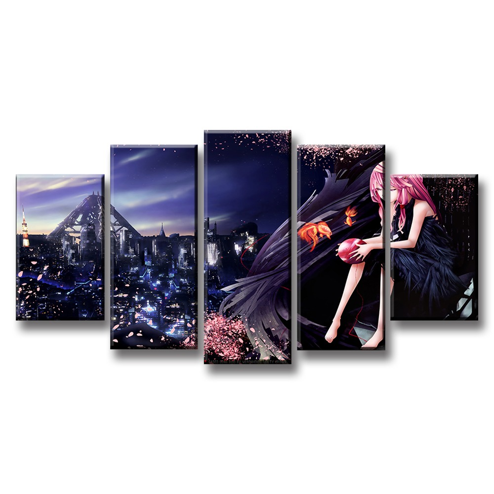 Home Decoration Wall Art Framework Canvas Paintings Modular 5 Pieces Guilty Crown Pictures Printed Animation Poster Living Room in Painting Calligraphy from Home Garden