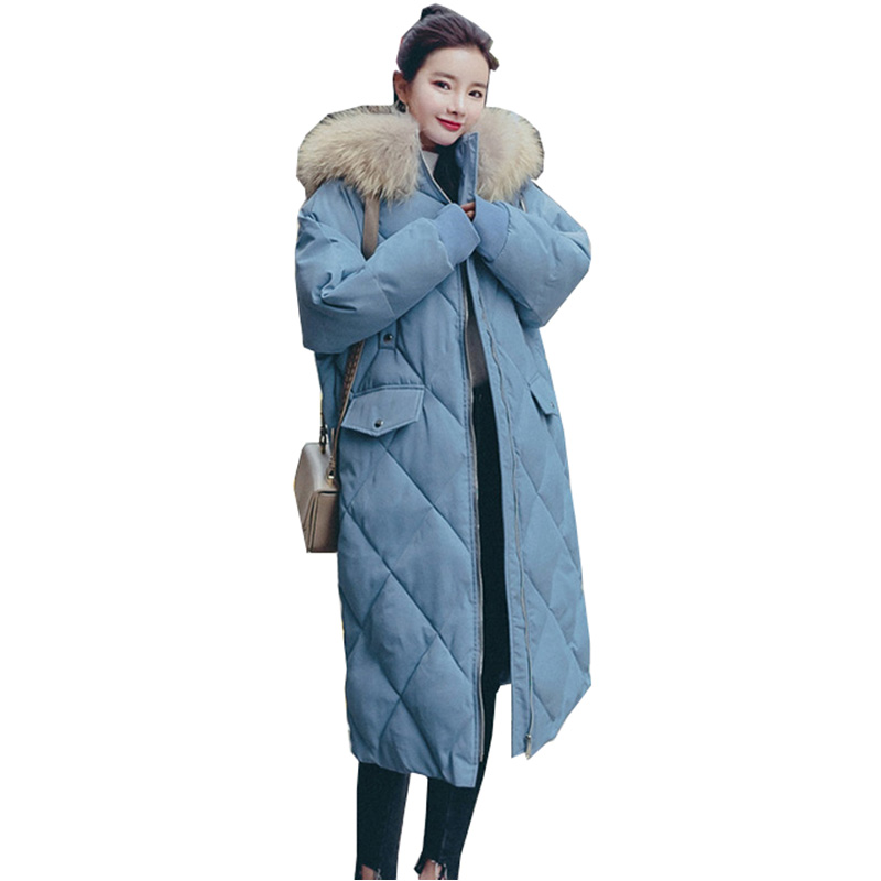 2018 New Big fur winter Hooded coat thicken parka women Splice long Plus Size cotton padded basic tops ladies jacket YM864 long parka women winter jacket plus size 2017 new down cotton padded coat fur collar hooded solid thicken warm overcoat qw701