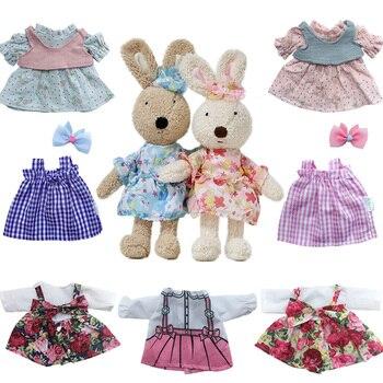 Doll Clothes Fits 30cm Le Sucre Rabbit Plush and 1/6 BJD Girl Floral Dress Couple Suit Accessories
