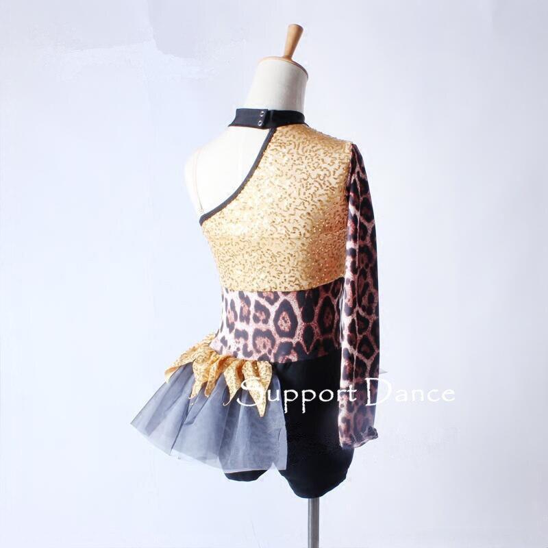 Image 5 - Асимметричное леопардовое платье для латинских танцев, для детей и взрослых, стильный джазовый современный танцевальный костюм C305-in Латинский from Новый и особенный в использовании