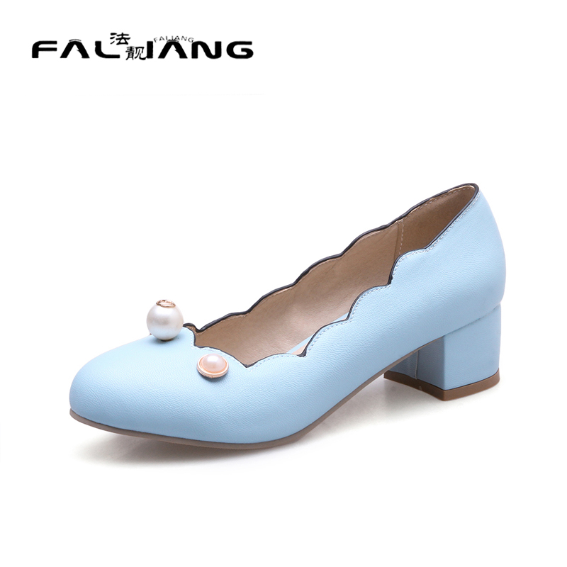 ФОТО Big Size 11 12 Sweet String Bead Casual Round Toe Square heel Women's Shoes Pumps Woman For Women