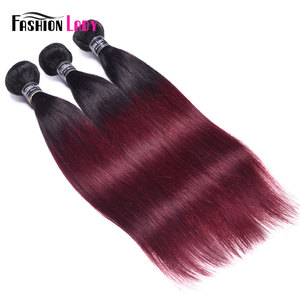 Image 2 - FASHION LADY Pre Colored Brazilian Straight Hair Extension Ombre Human Hair Weave 1B/99J 1/3/4 Bundle Per Pack Non Remy