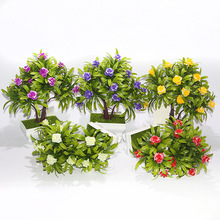 The simulation of green plants bonsai yingkesong small potted decorative flower pot factory direct simulation quality