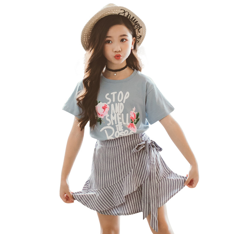 1 set Kids girls summer clothes girls holiday outfits top Tee skirt polka dot