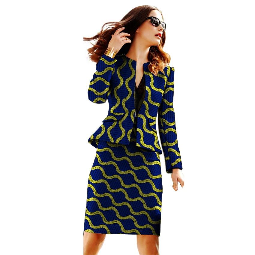 African Clothing Women Print Blazer With Skirt Ankara Fashion Skirt Customized Jacket Sets Female Outfits Dashiki Suit