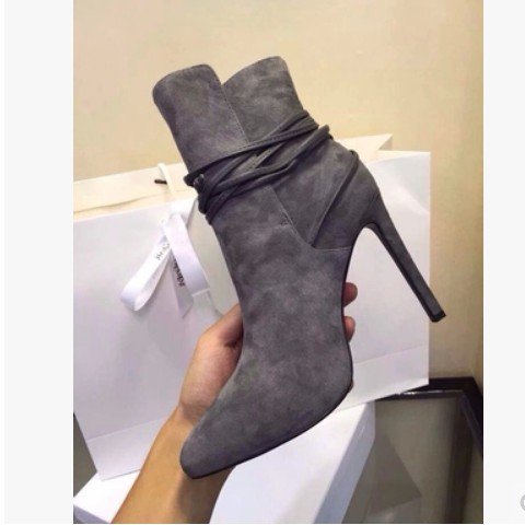 ФОТО New Hot 2017 Sexy Pointed Toe Slip-on Woman Ankle Boots Ankle Strap Stiletto High Heels Dress Shoes Party Shoes For Ladies