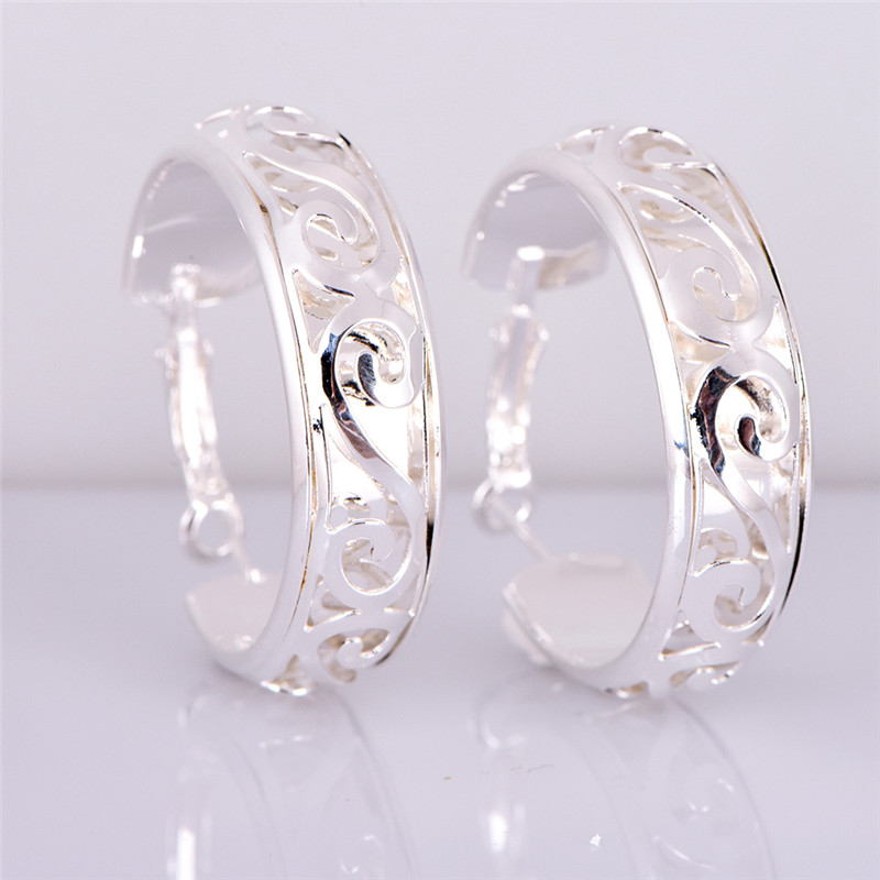 NEW 1 Pair Hollow Silver Color Hoop Earrings Jewelry Women ...