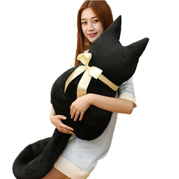 Bowknot noir chat oreiller coussin décor à la maison en peluche poupée jouets pour enfants