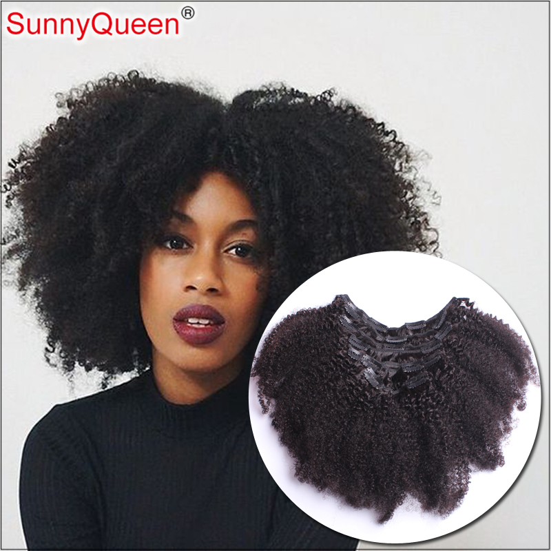 Clip In Human Hair Extensions Brazilian Afro Kinky Curly ... - photo#25