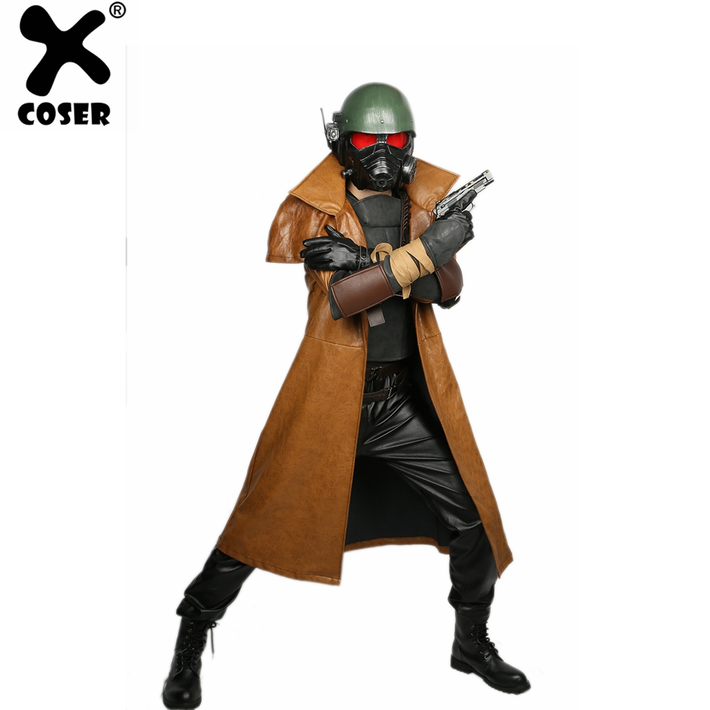 XCOSER Fallout 4 Veteran Ranger Brown PU Full Set Of Cosplay Costume Halloween 2019 New Arrivals Brand Sale For Men