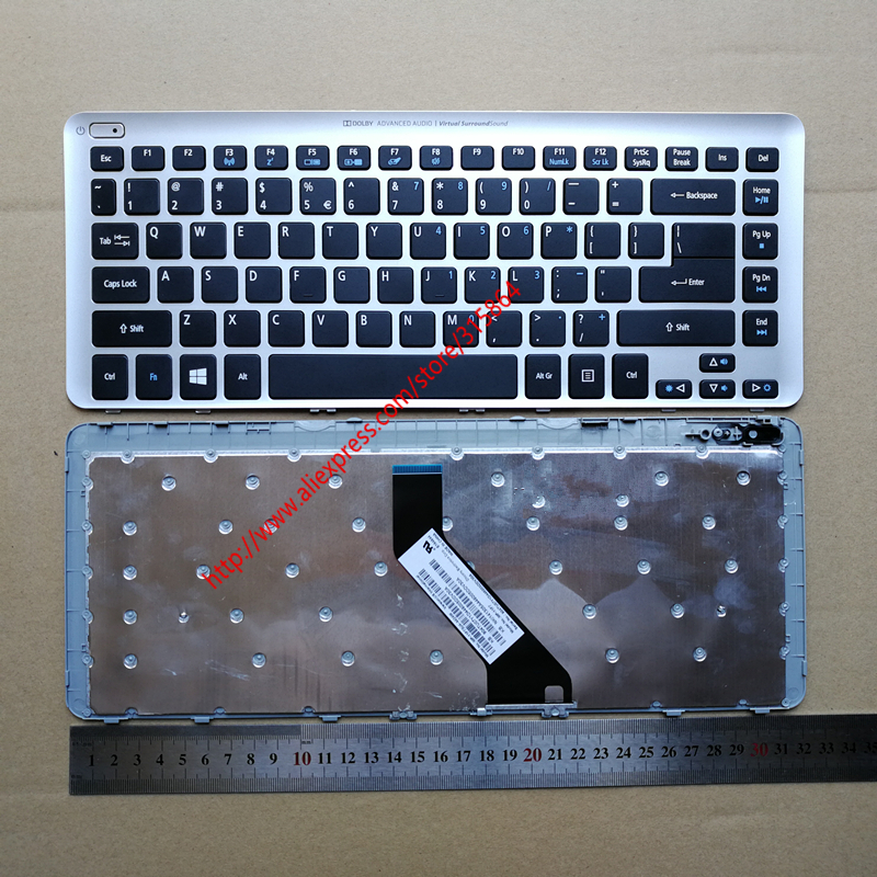 US new laptop keyboard with frame for ACER V5-431 MS2360 V5-471 V5-431G V5-471G V5-431P V5-471P sliver