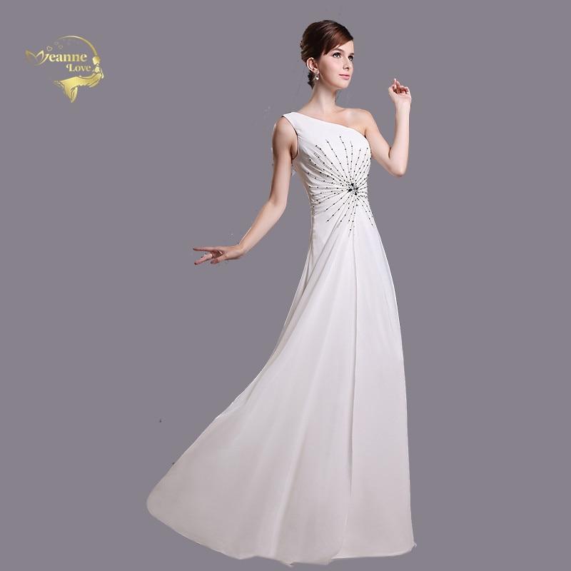 Robe De soirée blanche une épaule soirée robes formelles 2019 élégante longue fête robes De bal Abiti Da Cerimonia Da Sera T1U8 55