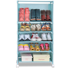 Creative upscale shoe storage rack home floor can move with wheels assembled cabinet cloth boots