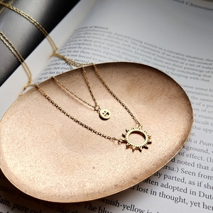 Image 2 - Sterling 925 silver smiley face sun pendant necklace gold 2018 fashion simple double layer necklace for women charms jewelry