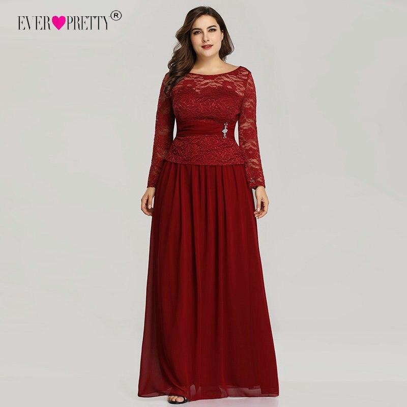 Длинные вечерние платья Ever Pretty EZ07732 2018 темно-красный плюс размер шифон полный рукав кружева вышивка o-образным вырезом Формальное вечернее п...