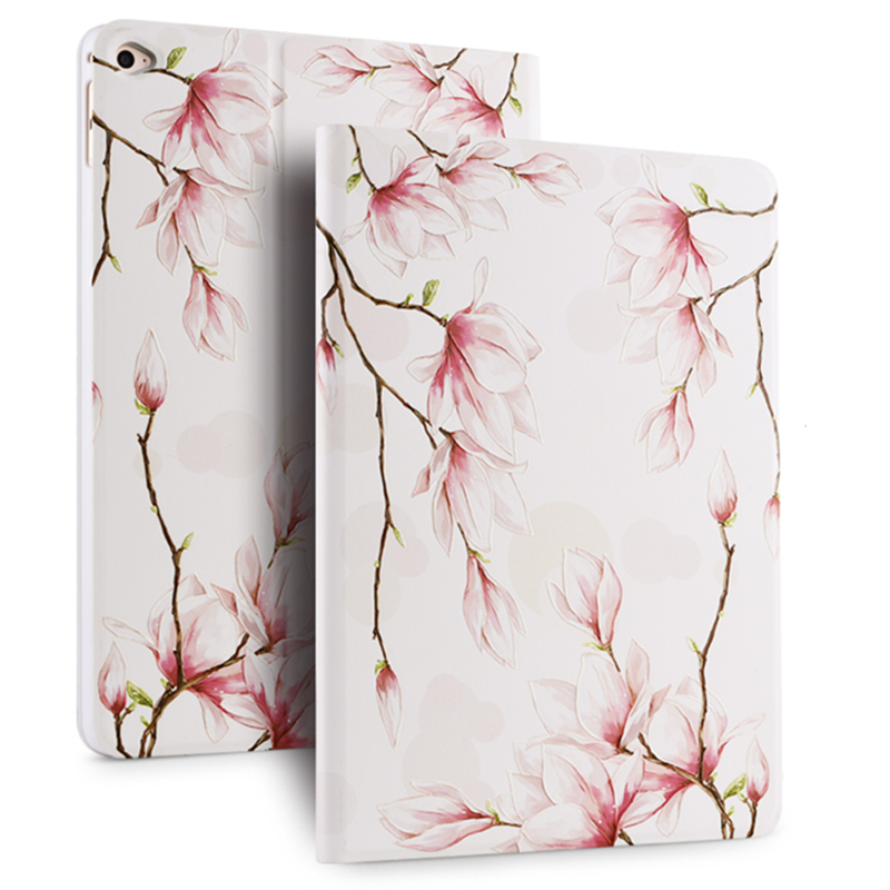Case For Ipad Air 1 Luxury 3D Stereo Relief Painting Flower Smart Magnet Leather Stand Case For Ipad 5 Para+Film +Pen