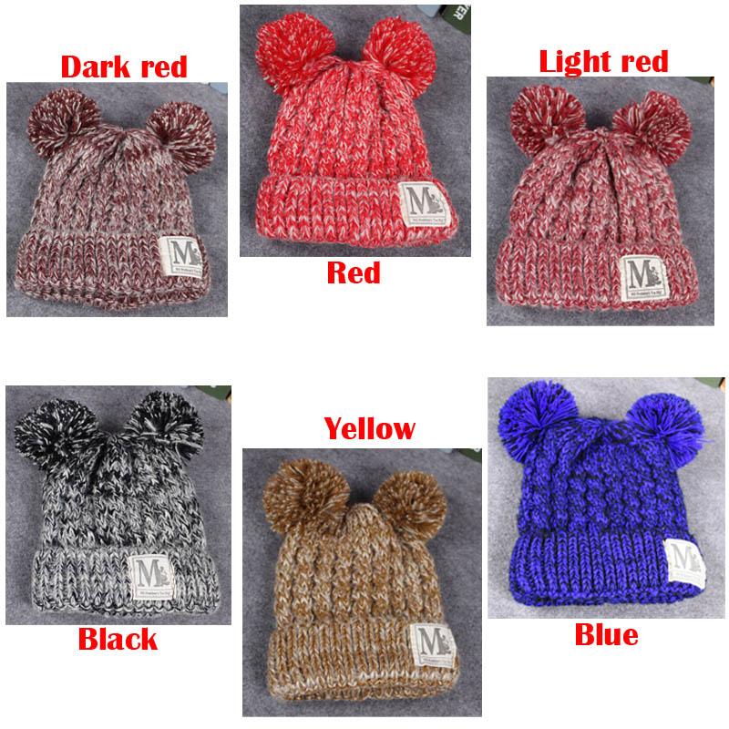 30pcs Child Baby Kids Doll Warm Winter Knit Beanie Wool Thick Bobble