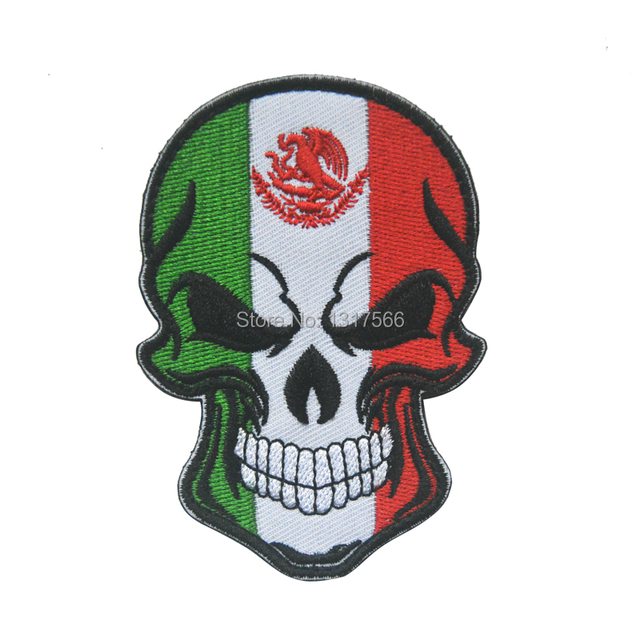 Mexican National Flag Skull Head Embroidery Patch Embroidered