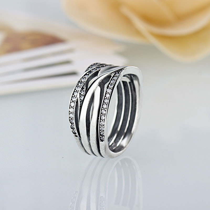 3f604f2ed Entwined Authentic Silver Clear Zircon Original Pandora Ring Compatible  With Fashion Jewelry Wedding Rings For Women-in Wedding Bands from Jewelry  ...