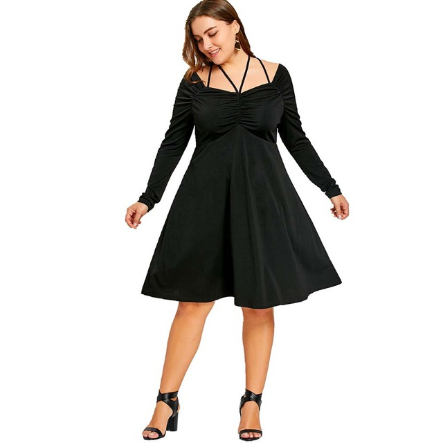 2018 Women 5XL Plus Size Dress Sweetheart Neck Long Sleeve A line ...