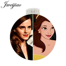 JWEIJIAO The Beauty Princess Photo Pocket Mirror With Massage Comb Women Girls Folding Compact Portable Multifunctional Mirrors