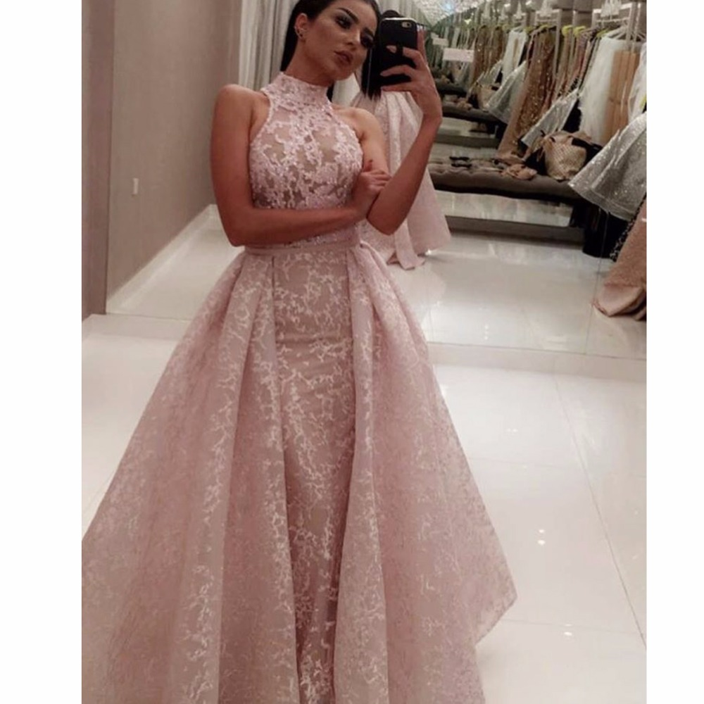 Prom Dress With Detachable Train: Fashion High Neck Lace Two Piece Prom Dresses Detachable